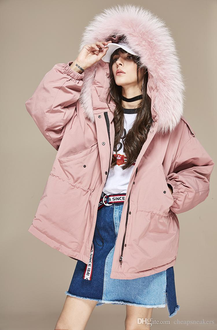 New arrival Women's Pink down coats hooded with Large Raccoon fur collar warm oversize coat USA UK