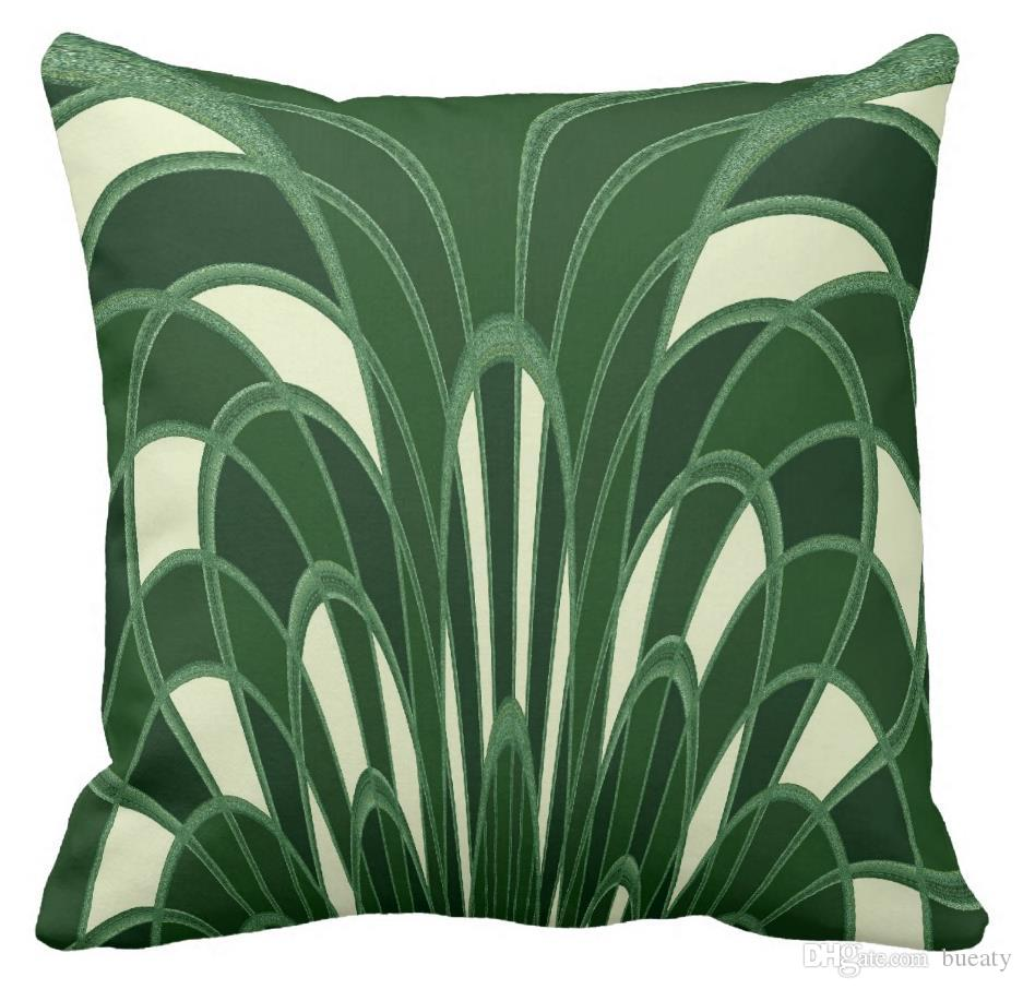Art Deco Throw Pillows.Mushroom Abstract Art Deco Green Throw Pillow Can Be Customized To Map Satin Pillow Home Decoration Outdoor Patio Pillows Large Outdoor Pillows From