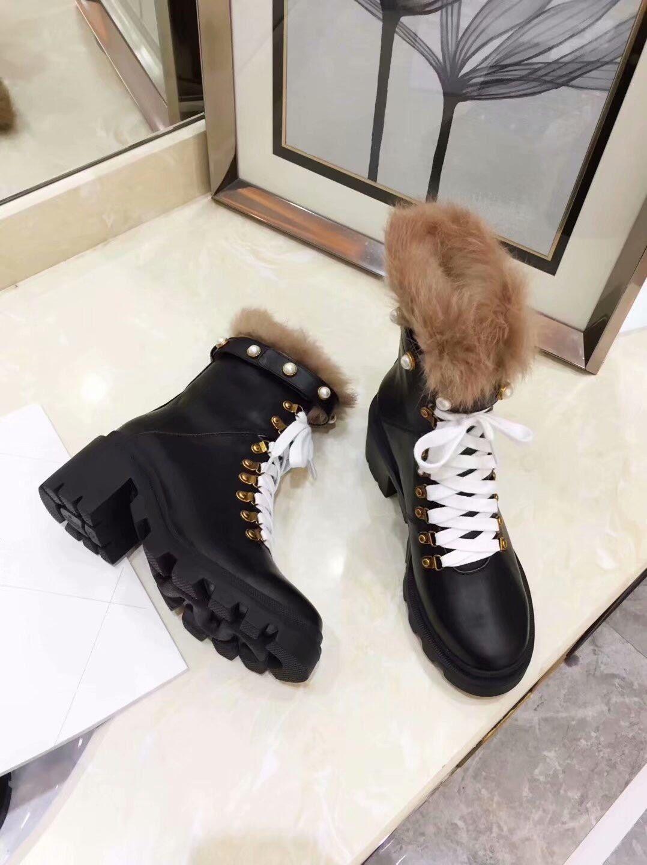 Compre Moda Mujer Color Negro De Cuero Zapatos Para Caminar Botas De Invierno Botas Para La Nieve Botas De Plataforma Botas De Trabajo Al Aire Libre