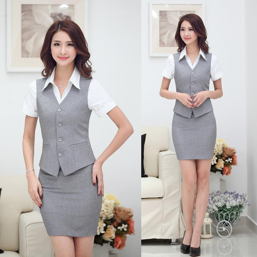 Summer Fashion Women Business Suits with Skirt and Top Sets Gray Vest Waistcoat Slim Ladies Office Uniform Styles Work Wear