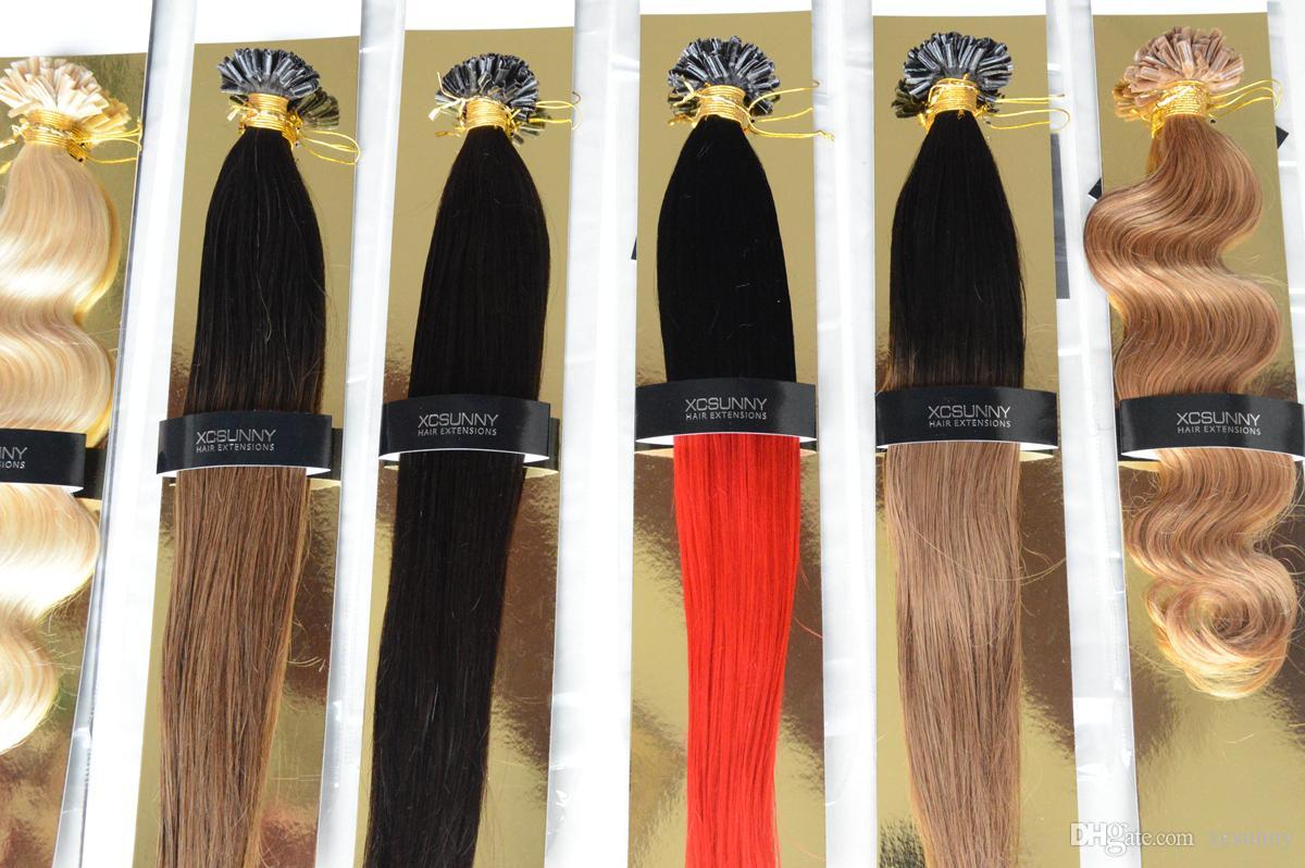 XCSUNNY 18 20 дюймов наращивание волос кончик ногтя Ombre Малайзии Девы человеческие волосы 100 г = 100 с наращивание волос Ombre черный темно-коричневый