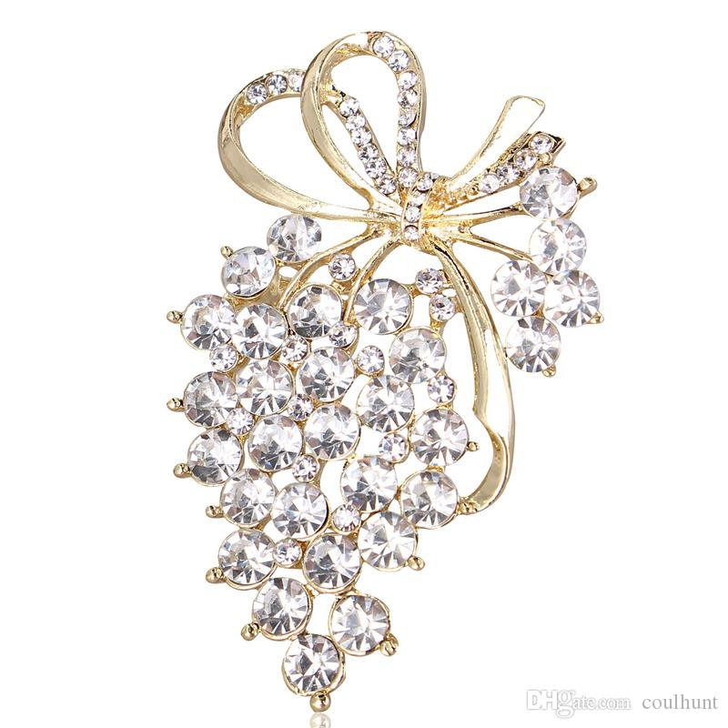 2018 New Grapes Brooches Gold Color Crystal Brooch Rhinestone For Wedding Bridal Dresses Hijab Clip Scarf Buckle Pins