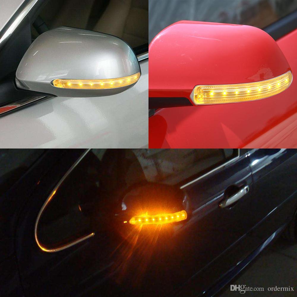 2 SZTUK Uniwersalny Auto Lusterko wsteczne Lampa Latarnia LED Źródło światła samochodowego Amber Yellow Soft 8 SMD DC 12 V FPC Włącz Światło sygnału