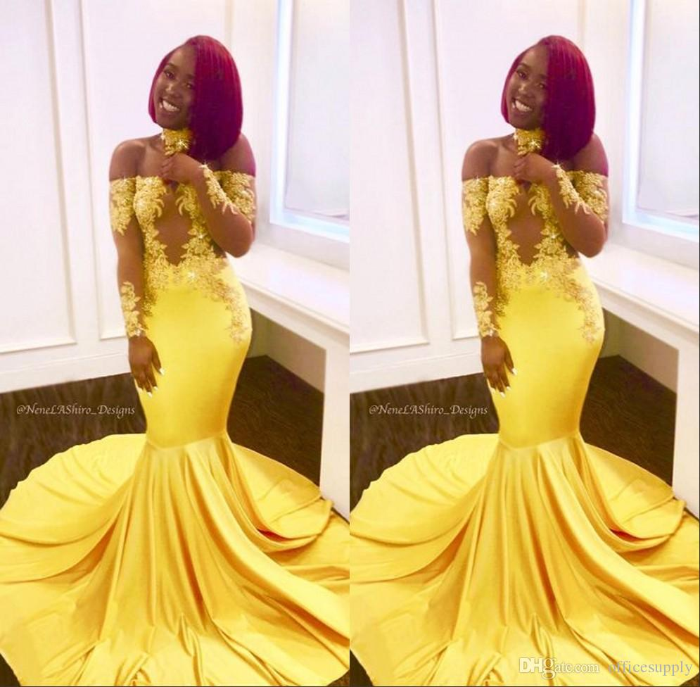 Yellow Elegant Off the Shoulder Lace Prom Evening Dresses Formal Long Sleeves Mermaid Appliques Satin Arabic Long African Formal 2019 Custom