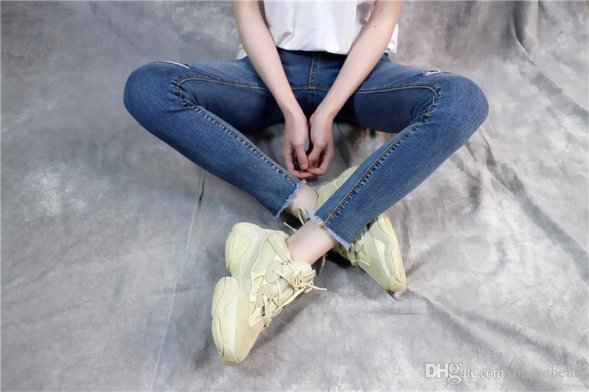 2018 New Desert Rat 500 Cena Moon Yellow Db2908 Powder Practical Leather Sneaker Calzado Deportivo Sport 500 Suede Blush Father Shoes And Box Por