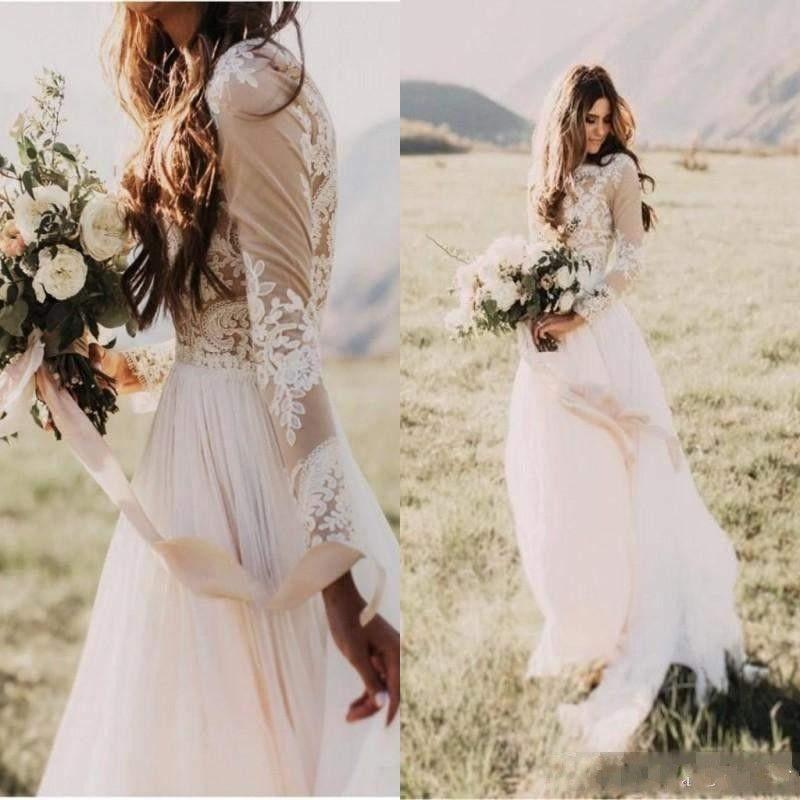 2018 Barato Vestidos de boda bohemios para el país Mangas largas transparentes Cuello redondo Una línea de encaje Apliques de gasa Boho Vestidos de novia de novia Fiesta