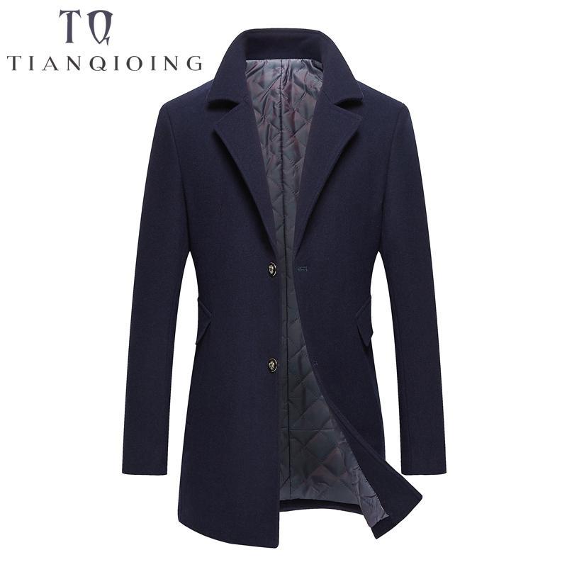 Marka Erkekler Yün Palto Uzun Renk Rüzgarlık 2018 High-end Moda Yün Coat Adam Iş Rahat Palto Yün Ince Ceket