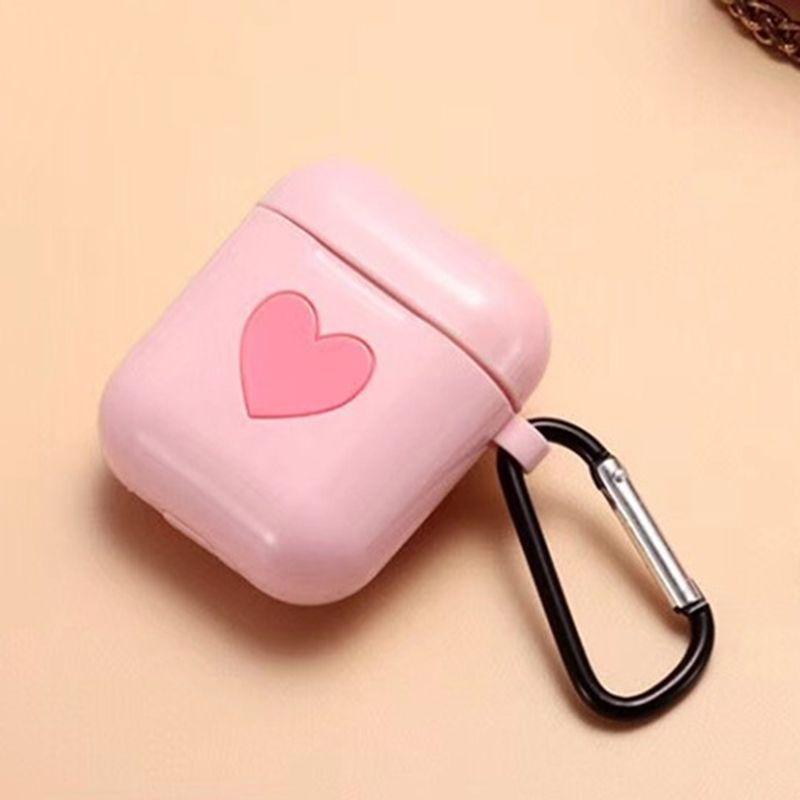 Funda de silicona nuevo rosa suave del corazón TPU para Apple Airpods con correa cuelgue el gancho de la cubierta del protector de aire Vainas del auricular Caso