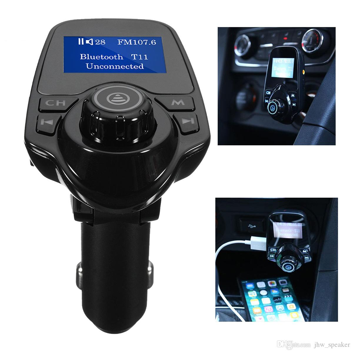 New T11 Bluetooth Car Kit Handsfree FM Transmitter MP3 Music Player Dual USB Car Charger Support TF Card U Disk Player