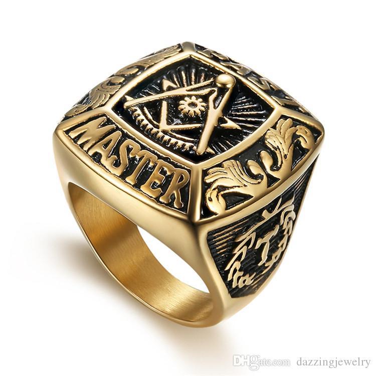 316 in acciaio inox di alta qualità moda stile unico oro passato master simbolo anello massonico per uomo muratore gratis