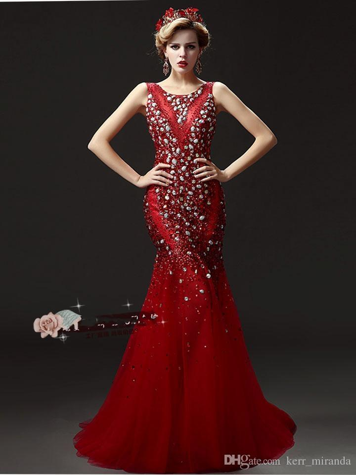 Plus Size Evening Dresses Luxury Tail Heavy Manual Nail Bead Prom Dresses Red Champagne - New Diamond Halter Shoulders Party Dresses DH029