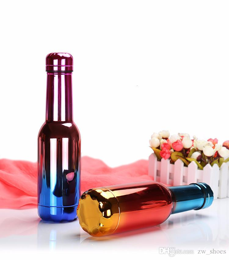 UV color Stainless Steel wine Bottle Vacuum Insulated Double Walled water bottle 500ml with crew cap