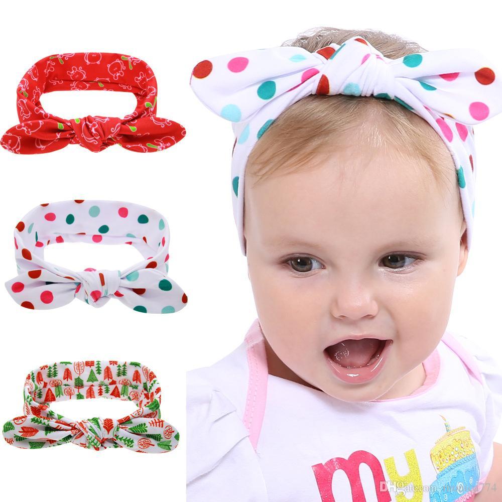 HIZLI GEMİ! 19 * 7.5cm Sevimli Bebek Dot Dot Tavşan Kulak Saç bandı Noel Ağaçları Kumaş ilmek Bantlar Tavşan Kulak Şapkalar BE26 yazdır 3styles