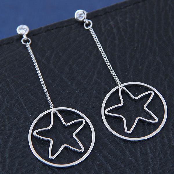 Orecchini in argento a forma di stella a cinque punte