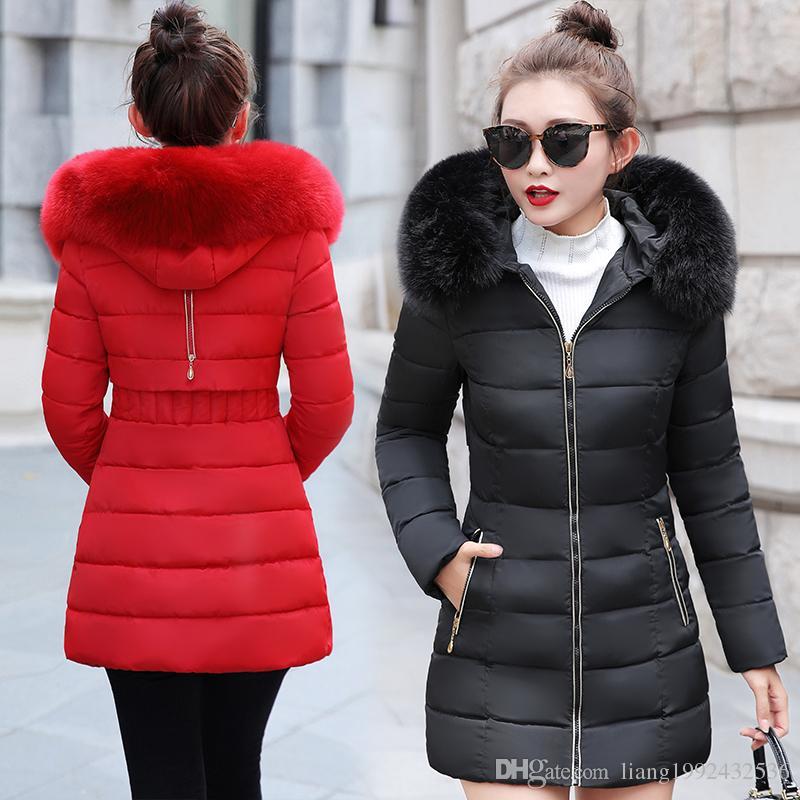 Sezione lunga inverno femminile 2018 nuova versione coreana del collo di pelliccia di cotone spesso grande con cappuccio selvaggio collo con cappuccio