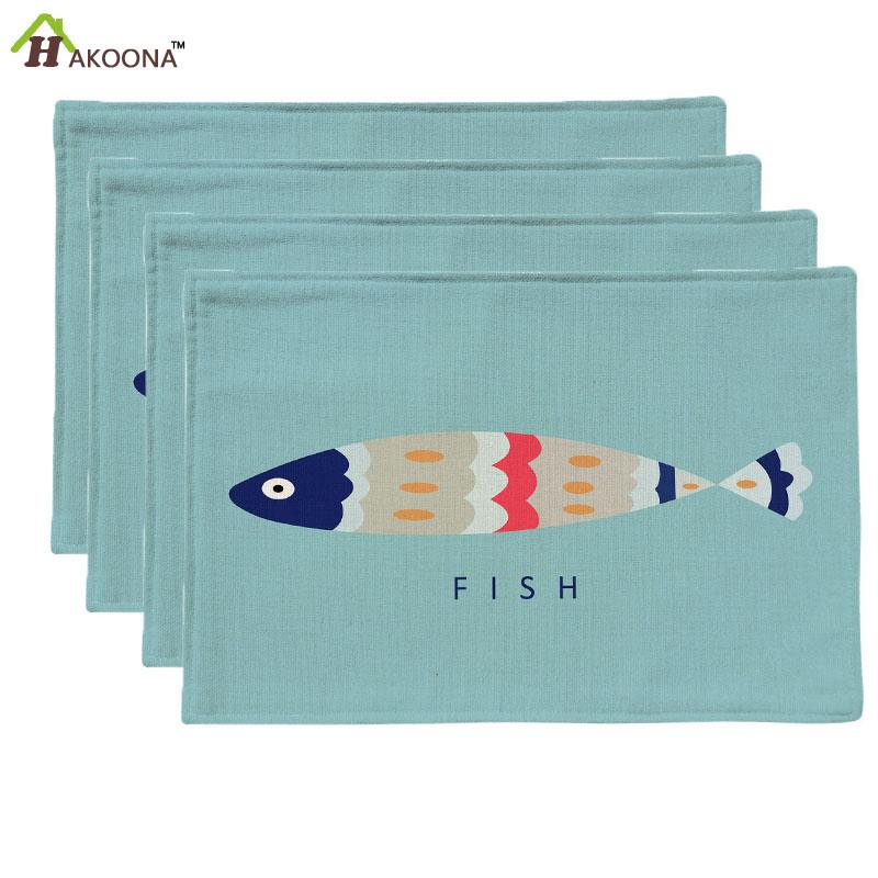 Wholesale- HAKOONA 4 Placemats Blue Background Cartoon Fish Printed Table Pads Cotton Linen Fabric Table Mats Decoration 44x28cm