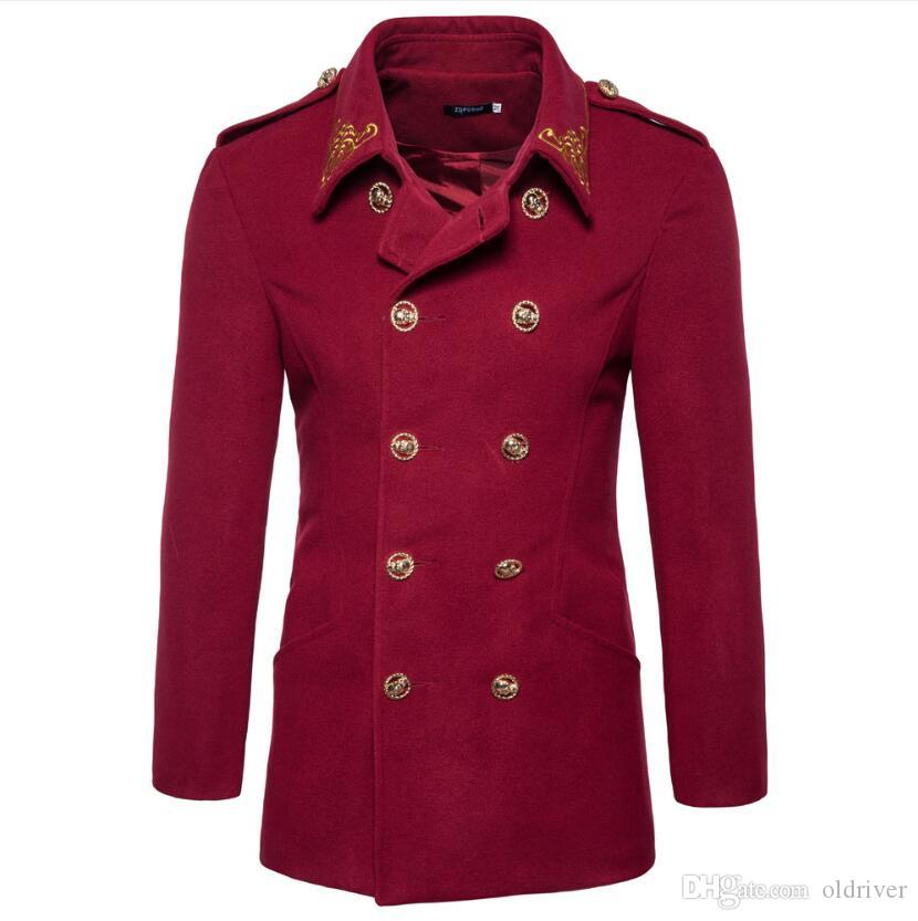 British exquisite men's embroidered jacket spring and autumn new European and American double-breasted epaulette men's coat