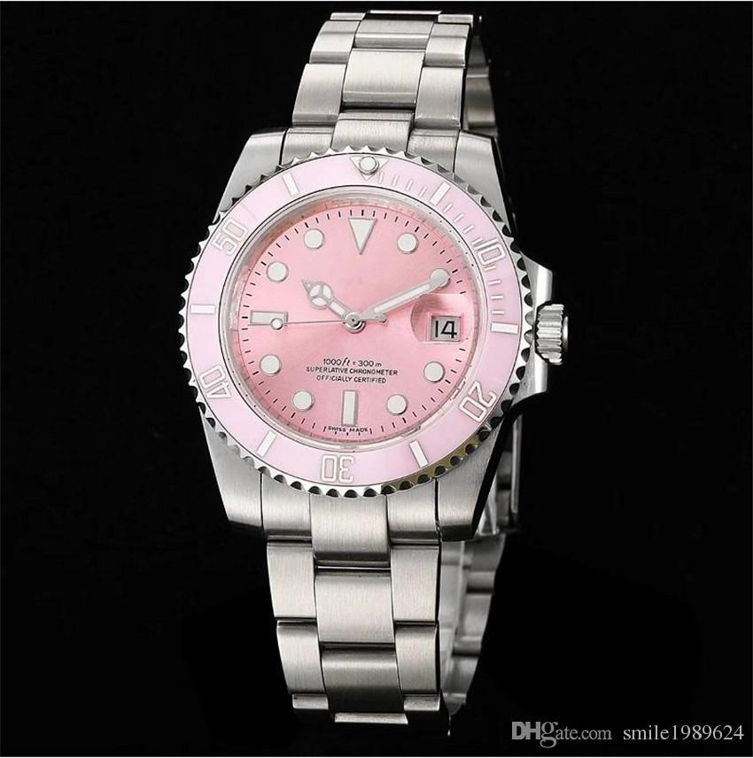 Reloj para hombres Dial rosado Bisel de cerámica Acero inoxidable Cristal de zafiro Espejo mecánico automático Reloj de Wonen Wonens Relojes