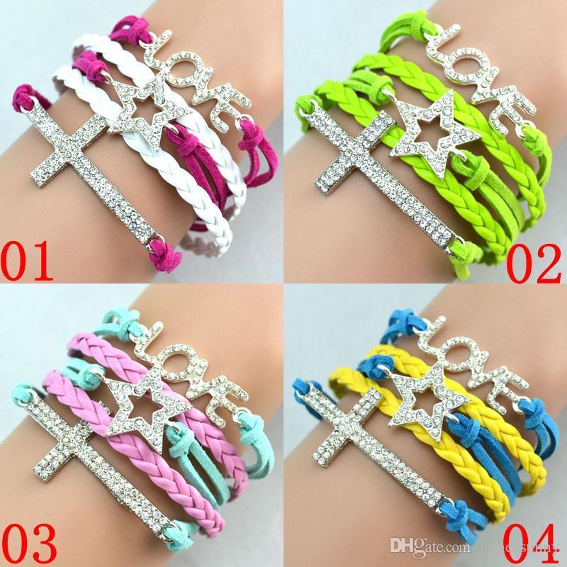 Super Best vente Antique Diamonds Charme Star Cross Love Infinity Mix 4 Couleurs Tissage Cuir Bracelets En Cuir De Mode Bracelets Bracelets Bijoux