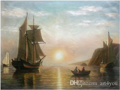 Boats A Sunset Calm in the Bay of Fundy William Bradford Handpainted & HD Print Seascape Art Oil painting On Canvas,Home Deco l212
