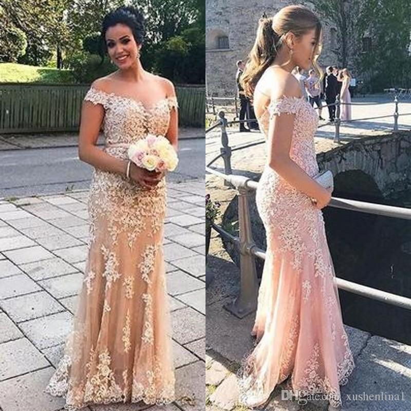 Apliques de Renda glamourosa Prom Vestidos Saudi Arabai Fora Do Ombro Tule Sereia Até O Chão Vestido de Noite Custom Made Longo Formal Vestido de Festa