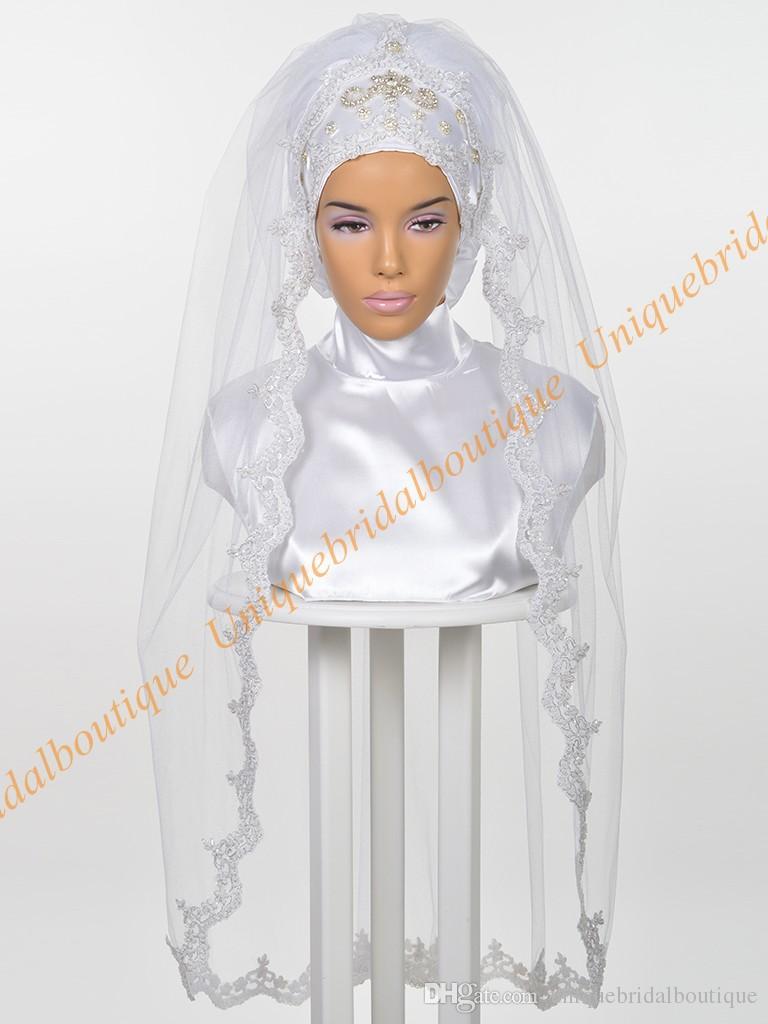 Мусульманская свадьба хиджаб 2019 со стразами кружева аппликации реальные фотографии длиной до локтя исламские свадебные фаты на заказ