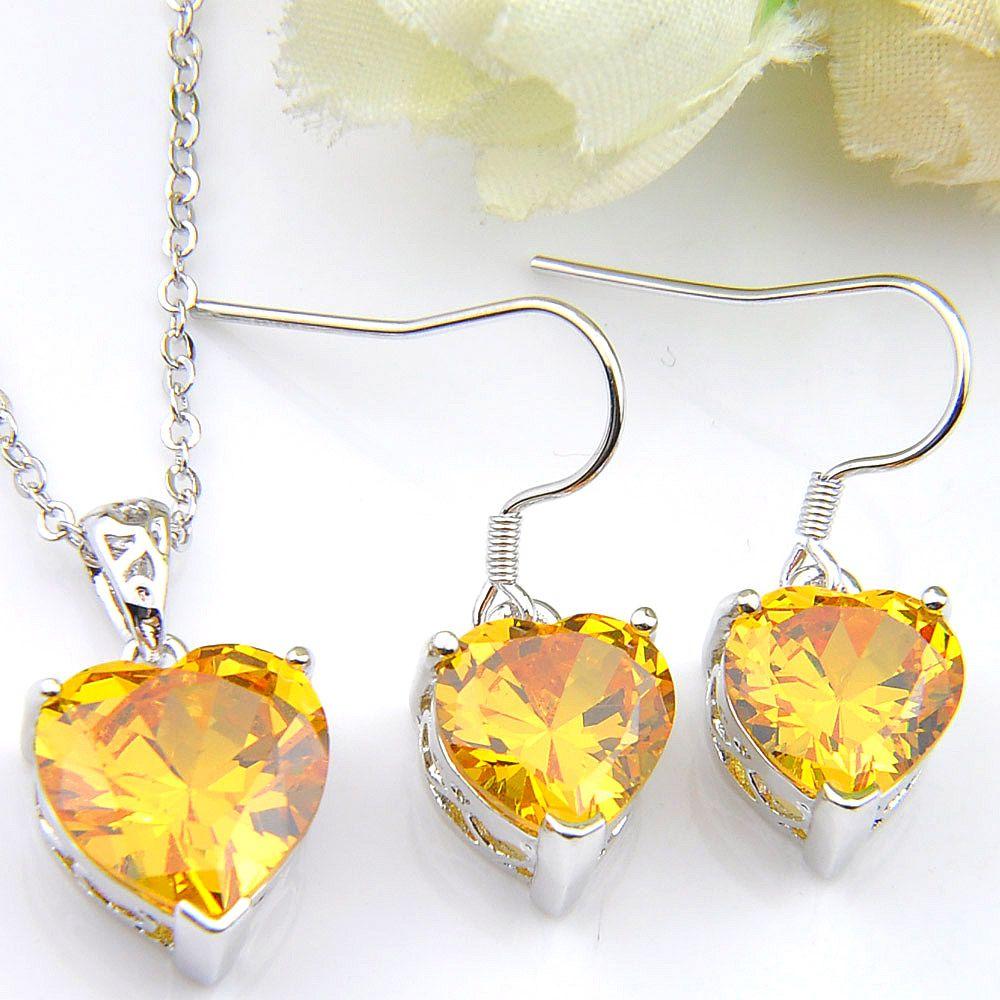 Luckyshine 925 collane e orecchini I monili cuore giallo citrino gemme Festa di fidanzamento per le donne Regali Set