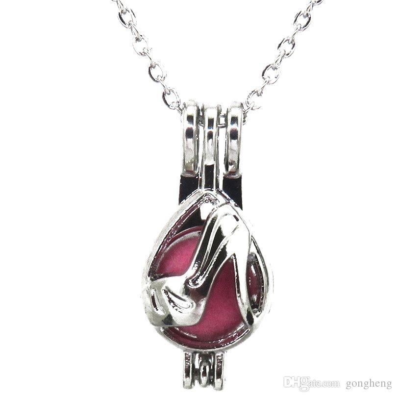 Silber High Stöckelschuhe Lady Hohlen Ätherisches Öl Diffusor Medaillon Frauen Aromatherapie Perlen Perle Oyster Cage Halskette Anhänger-Boutique Geschenk