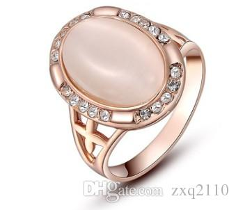 Romantic Women fashion jewelry crystals rose gold cat eye stone ring bride wedding marriage Christmas festival gift love