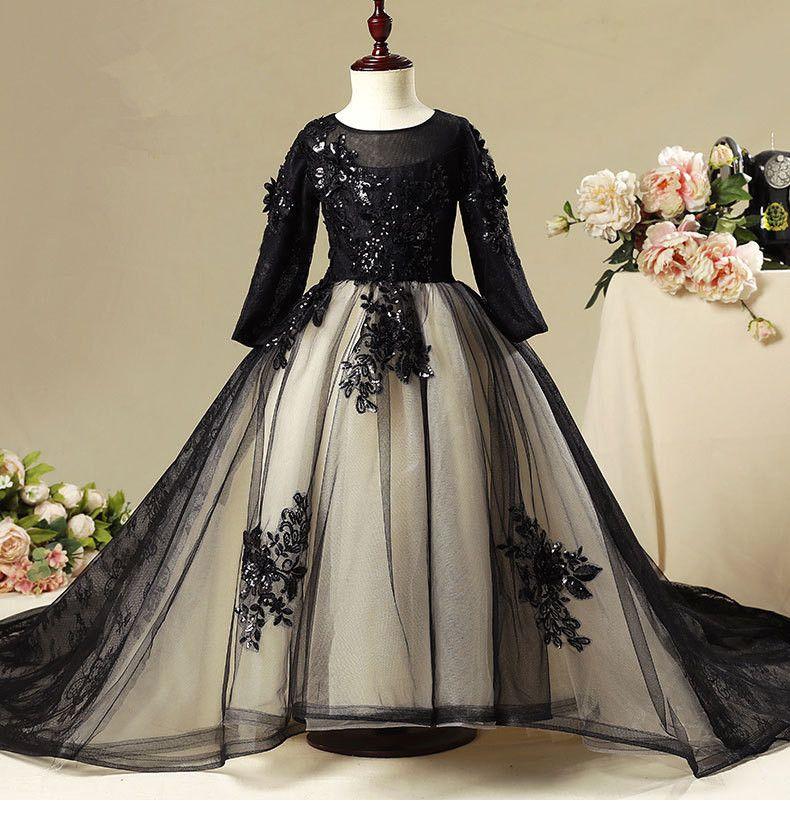 Longue paillettes robes de filles de fleur pour le mariage filles Pageant robes Black Lace First Communion robe robe de bal Enfants tenue de soirée