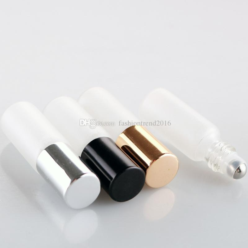 Frosted White 5ml Glass Roll on Bottle with Metal Roller Ball Glass Perfume Roll-On Vials Essential Oil Bottle with Black/Gold/Silver Cap