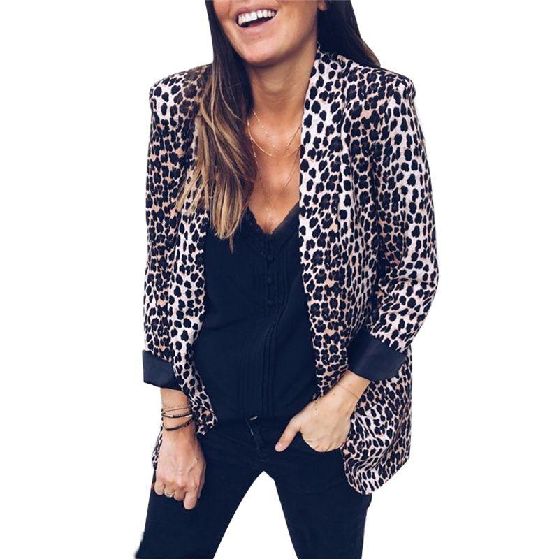 Leopard Jacket Women Autunno Inverno Casual Suit Fashion 2018 Snake Print Capispalla Cappotti Open Stitch Turn Down Collar Giacche