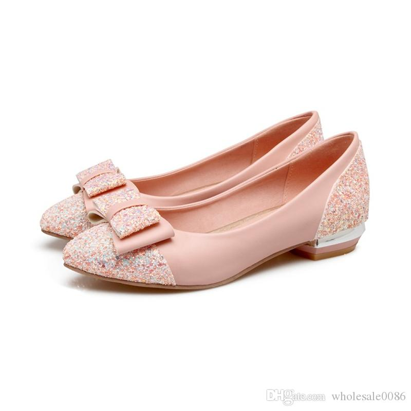 Womens Square Heel Bowtie Court Shoes