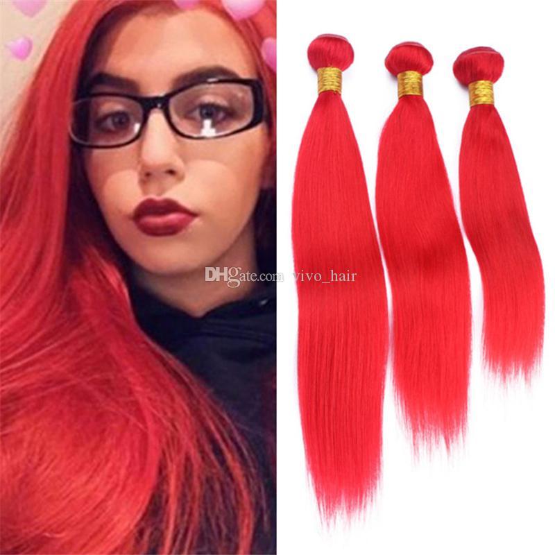 3 Pcs Lot Péruvienne Rouge Vierge Cheveux 3 Bundles Soyeux Droite Rouge Vif Armure de Cheveux Humains 300g Double Trame Extensions Dhl Gratuit