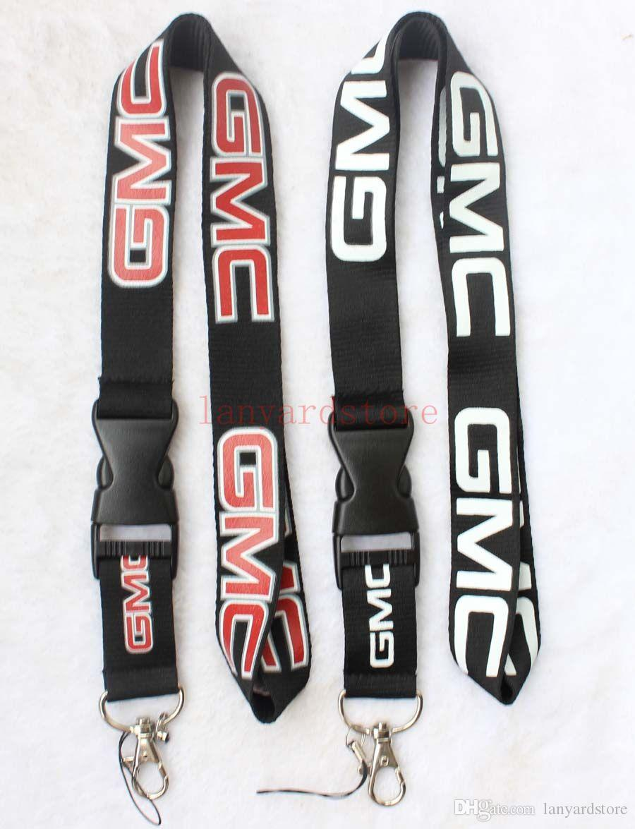 The charisma of a car GMC Lanyard Keychain Key Chain ID Badge cell phone holder Neck strap black.