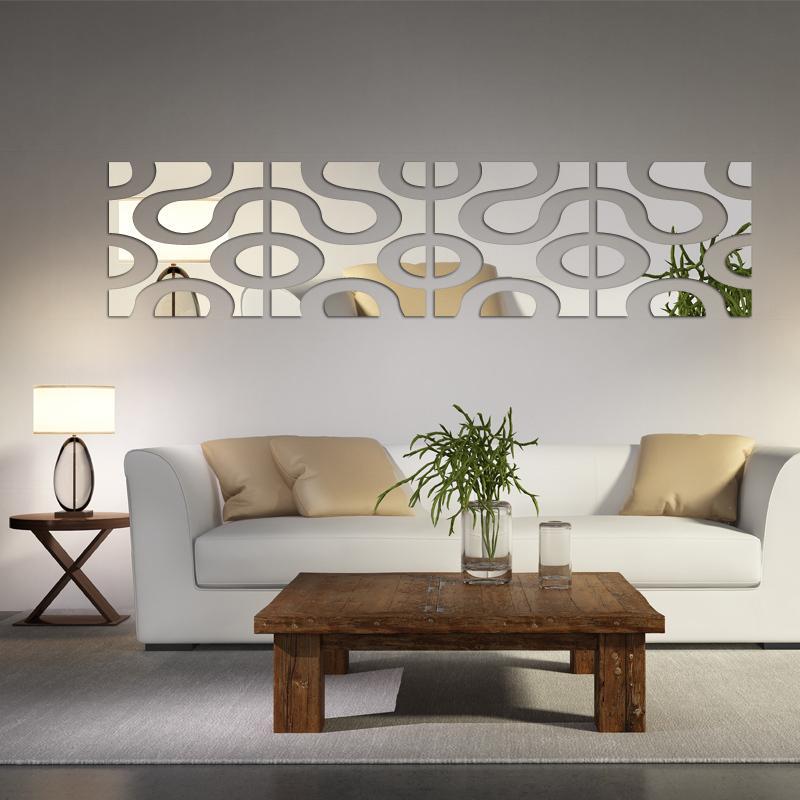 2017 caliente nueva grande Acrílico etiqueta de la pared pegatinas 3d decoración del hogar tatuajes de pared espejo superficie diy decoración del hogar del arte moderno