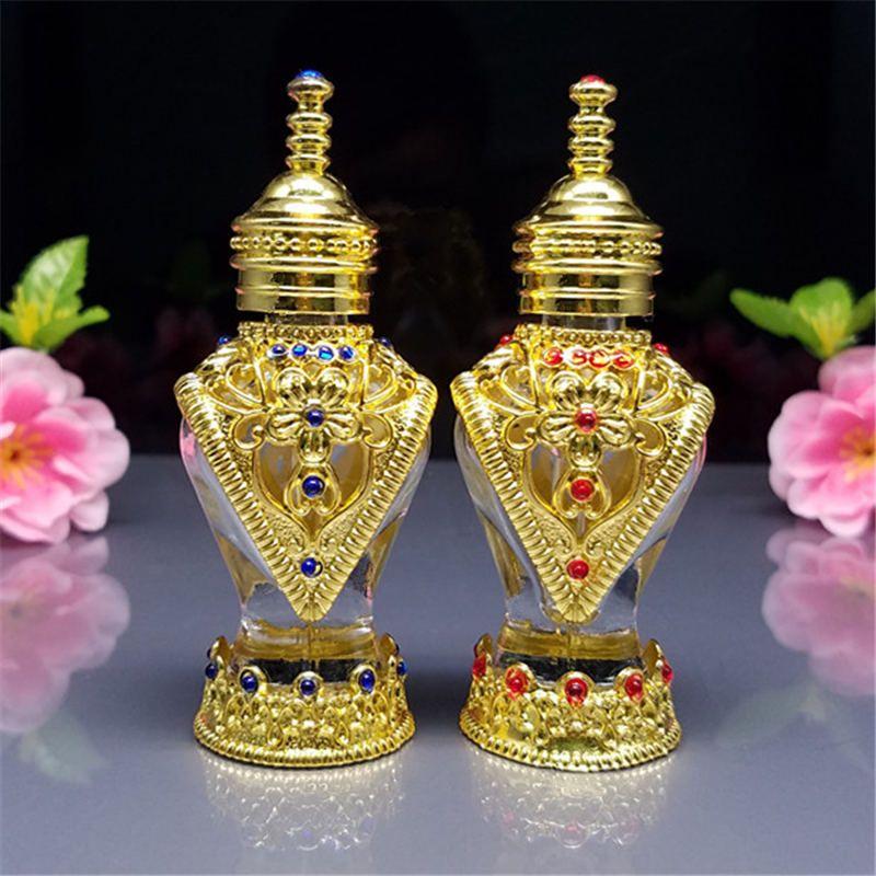 1 adet 8 ml ince şişeler, arapça aromaterapi şişeleri, güzel cam şişe, vintage altın parfüm şişeleri toptan