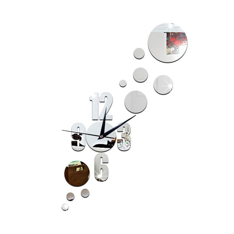 Moda Dot Combinação 3D Espelho Adesivo de Parede DIY Relógio de Parede Home Decor Relógio Quarto Sala de Estar / Reunião / Sala de Estudo decoração