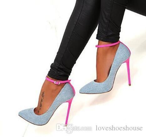 Scarpe tacco alto blu Sexy punta a punta cinturino alla caviglia donna pompe 2018 più recente rosa tacco a spillo scarpe eleganti