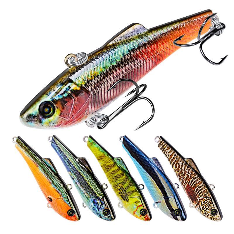 New Bionic ABS Plastic Fish With Fin Fishing lure Hooks 7g 7cm Lipless VIB Wobbler Swimbaits Bass Crankbait