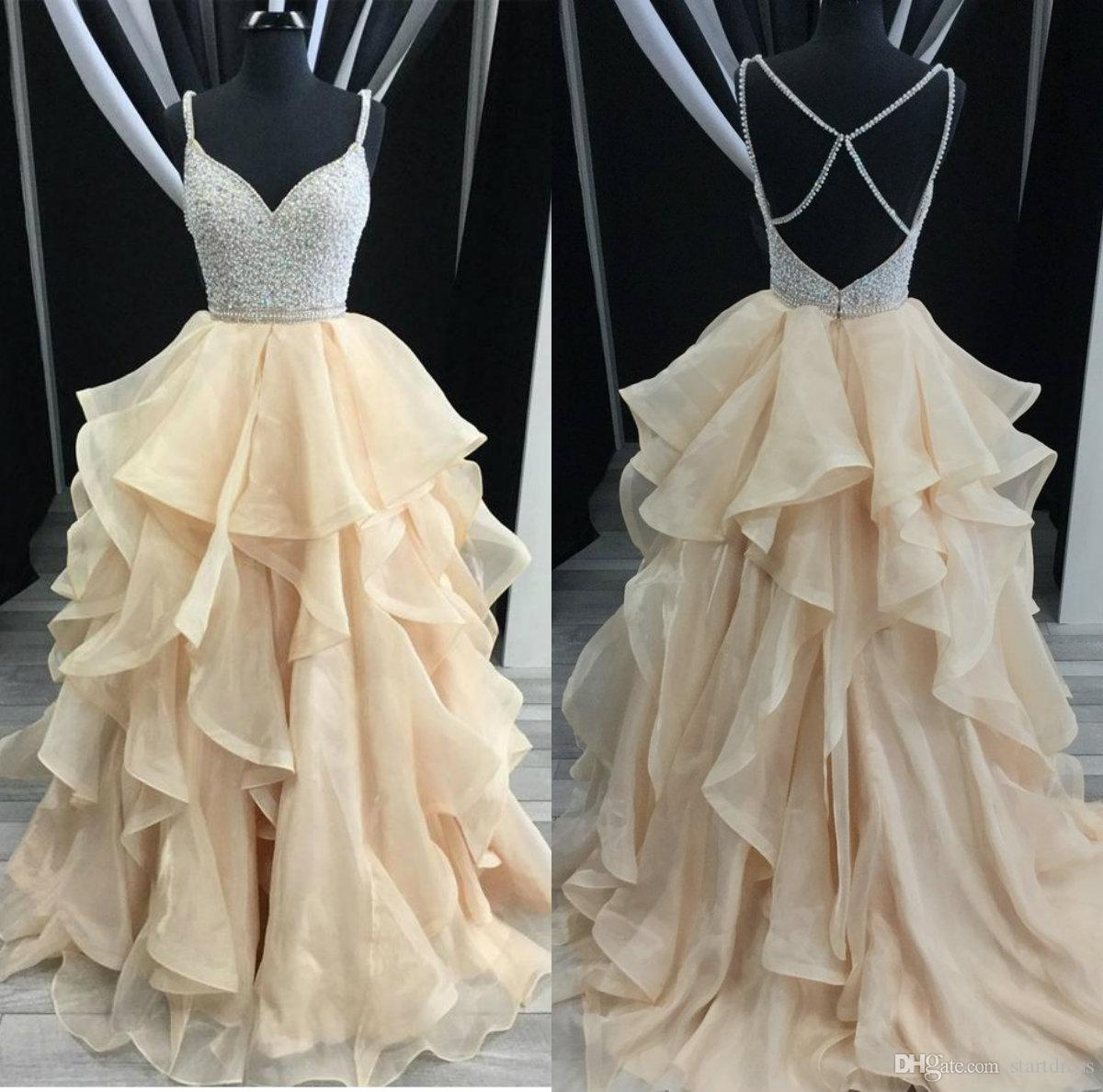 Real Picture Champagne Vintage Prom Dresses 2018 Tiered Organza Floor Length Long Formal party Gown Plus Size Beaded Spaghetti Backless Sexy