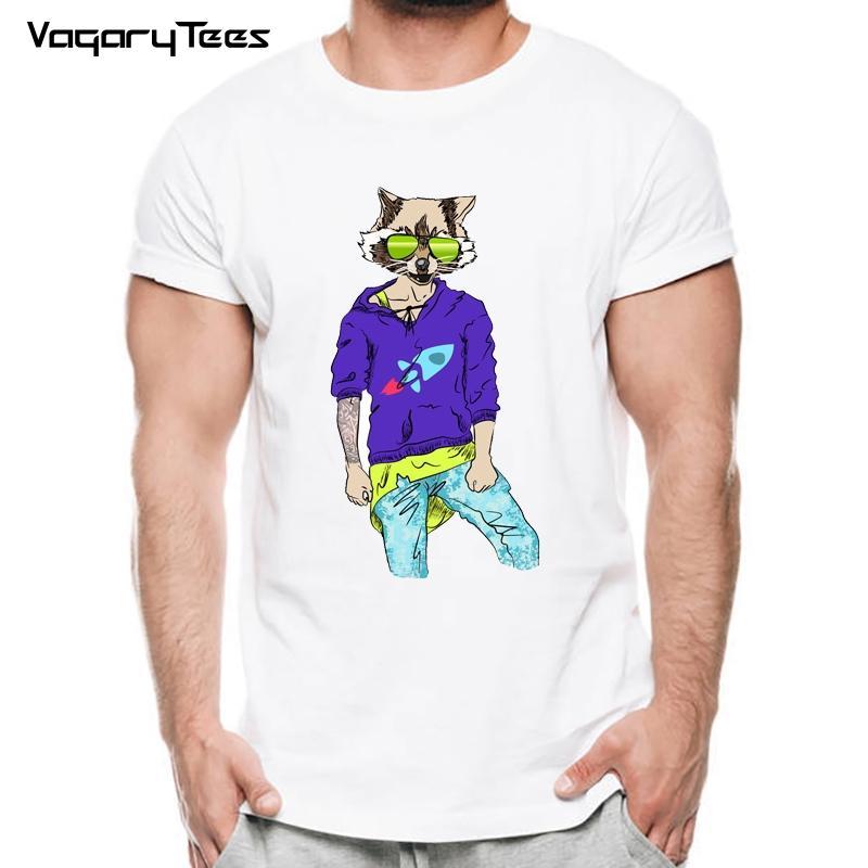 Vagarytees Brand Herren Kunst Animal Design T Shirt Hipster Fox Print Kurzarm Herren Sommer Modal Hipster Tees