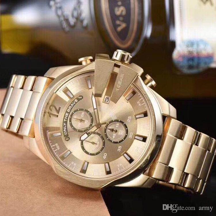 Üst 4360 Altın Adam Izle Büyük Arama Mega Şefi Chronograph Paslanmaz Spor İzle Moda Elbise Saatler Casual Kuvars İzle DZ reloj