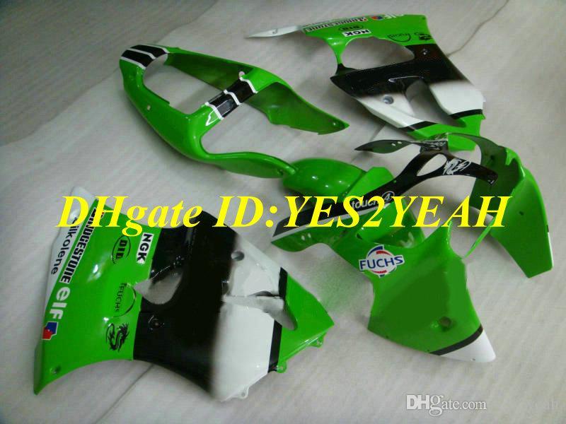 Kit de Carenagem da motocicleta para KAWASAKI Ninja ZX6R 636 00 01 02 ZX 6R 2000 2001 2002 Personalizado Verde branco Carimbos + Presentes KH19