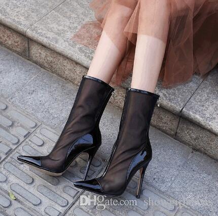 2018 Nueva Moda Air Mesh Sandalias de las mujeres Negro Punta estrecha Cremallera Volver Thin High Heels Ladies Sexy Summer Boots Zapatos de fiesta Mujer