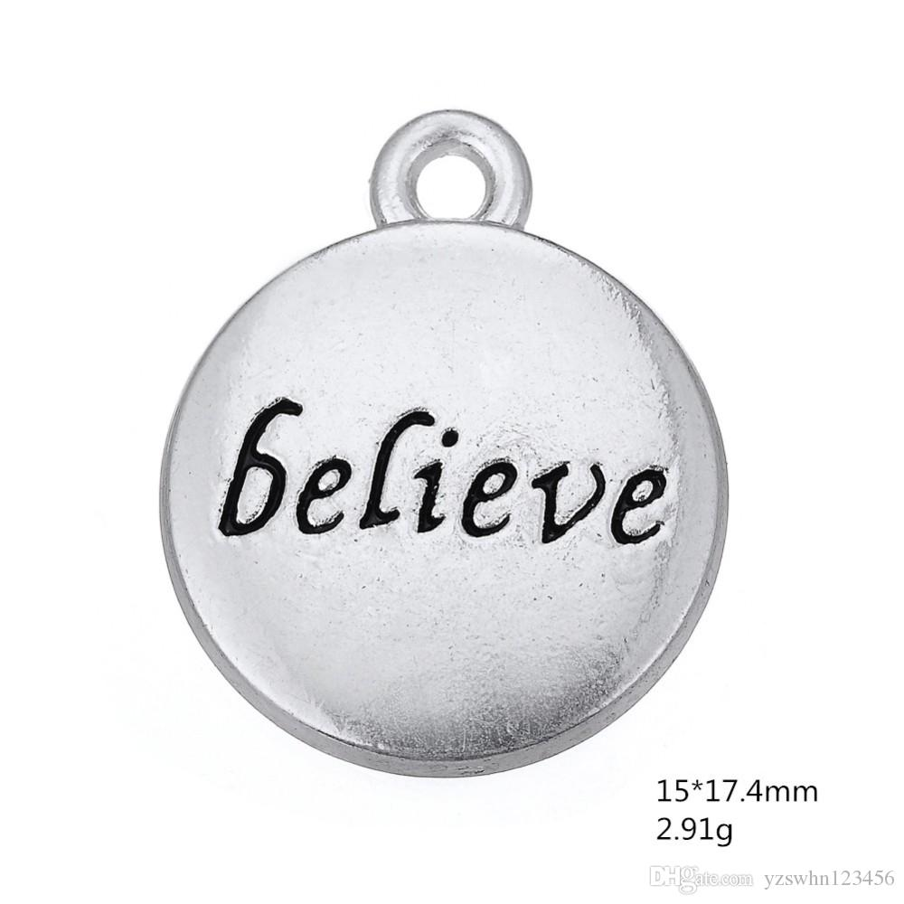 Antique silver plated believe message disc DIY charms Fit for Necklace and Bracelet