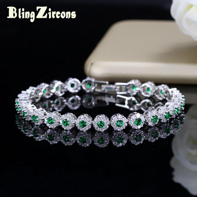 BlingZircon Trendy verde e bianco zircone pietra impostazione signore tennis bracciali in argento 925 gioielli per le donne B100