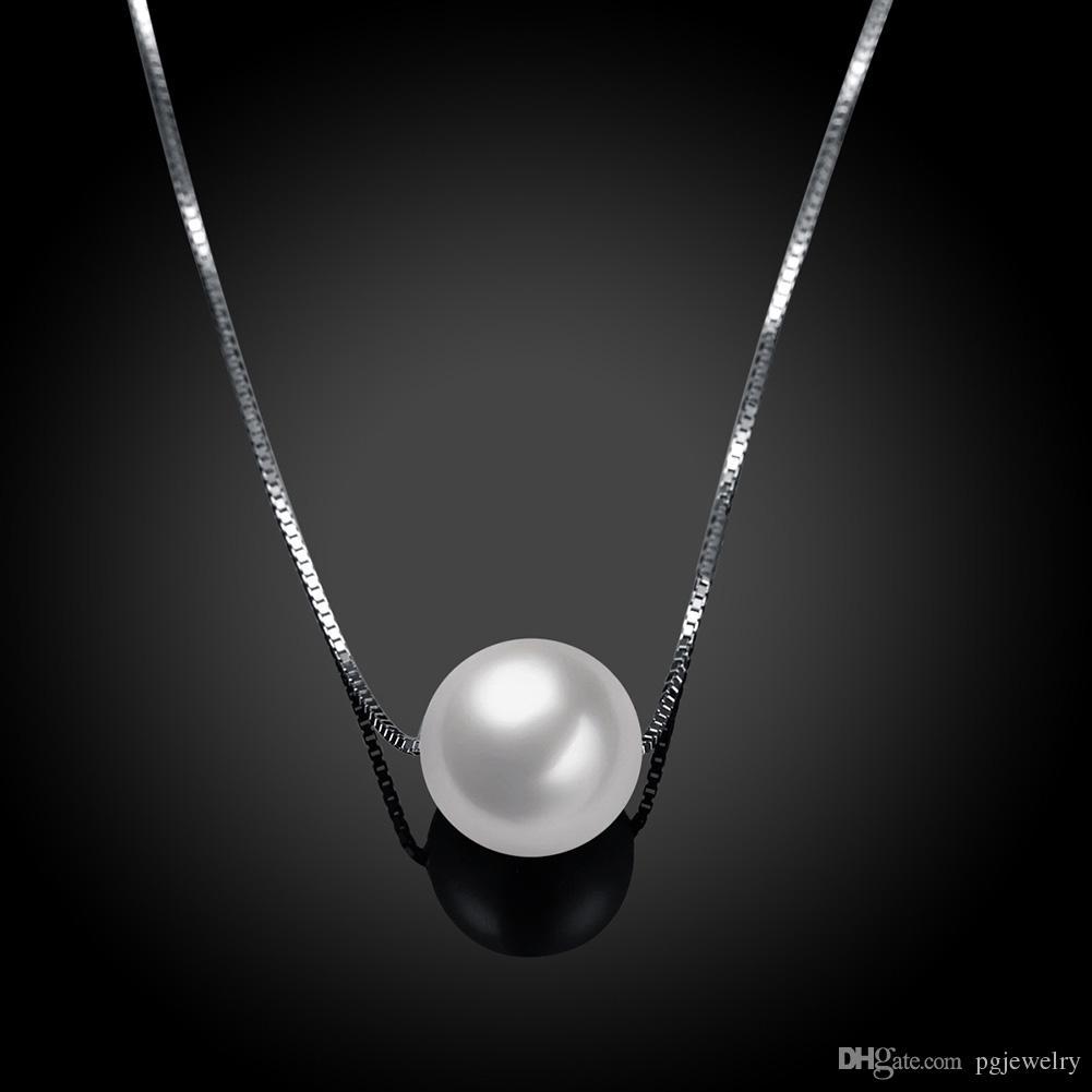 Nova chegada 925 sterling silver pendant necklace colar de pérolas delicadas moda clavicular cadeia de jóias de casamento para as mulheres presentes SVN101