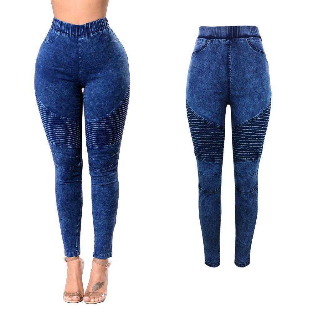 2018 Autunno Donna Impero Jeans a matita Leggings casual Elastico in gomma con cinturino in denim Pantaloni Sexy Push Up Pantaloni skinny