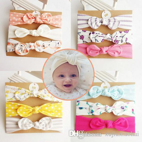93 Styles Cute Baby girl flower bowknot Headbands Colorful Printing soft hair accessories Children Birthday gift 3pcs/card